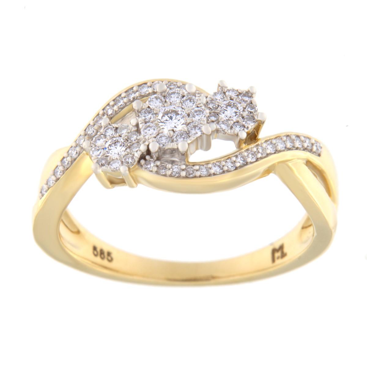 Kullast sõrmus teemantiga 0,25 ct. Kood: 102he
