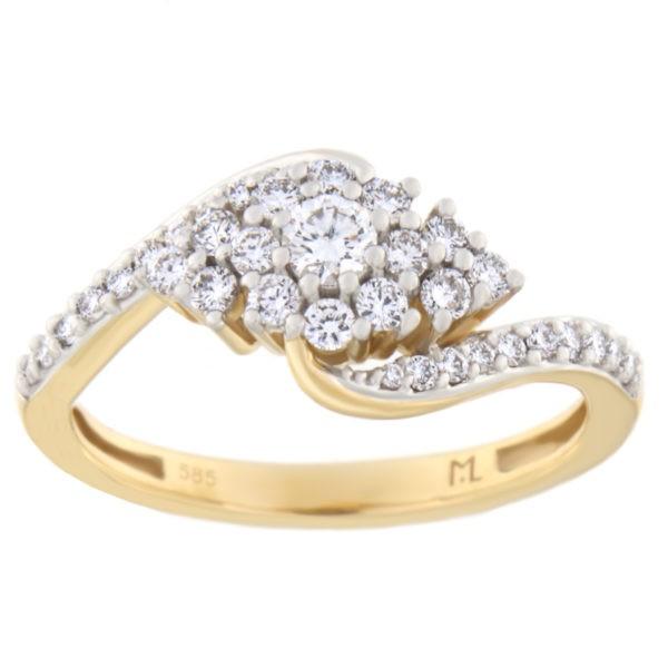 Kullast sõrmus teemantiga 0,50 ct. Kood: 1he
