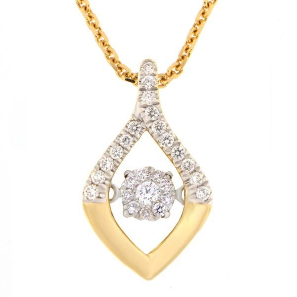 Kullast ripats teemantidega 0,18 ct. Kood: 46he