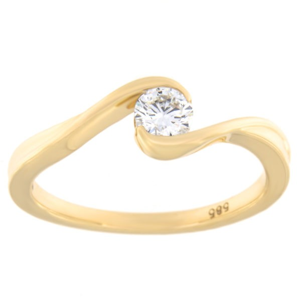 Kullast sõrmus teemantiga 0,25 ct. Kood: 11hc,78ha,73he