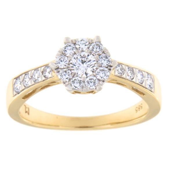 Kullast sõrmus teemantiga 0,50 ct. Kood: 12hc,74he