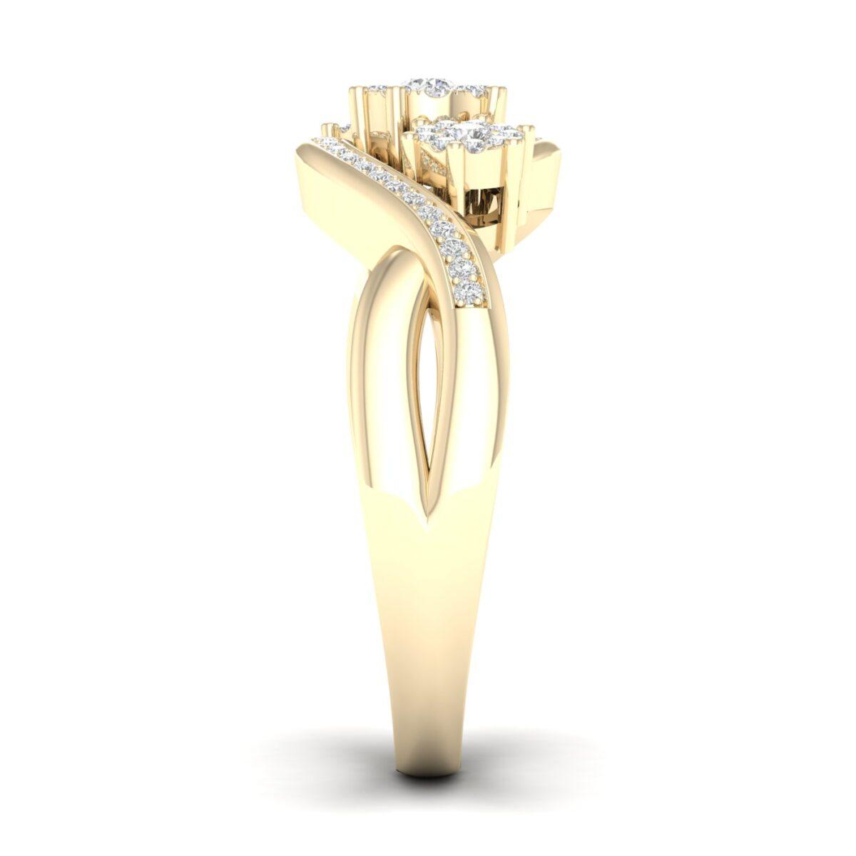 Kullast sõrmus teemantiga 0,25 ct. Kood: 40hc,102he