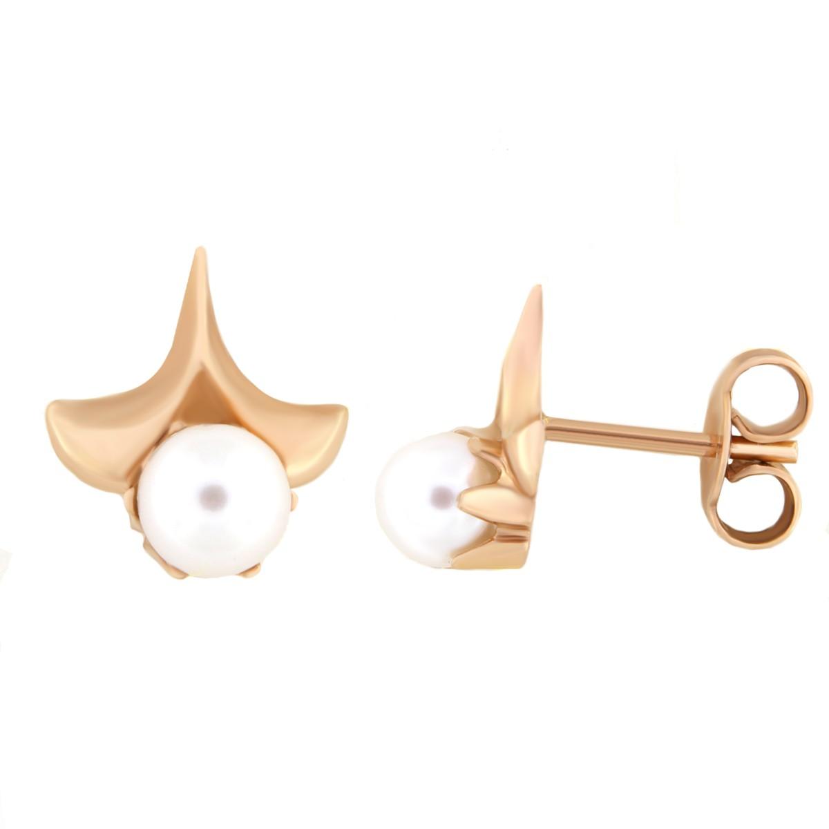 Kullast kõrvarõngad pärlitega Kood: 00033090j