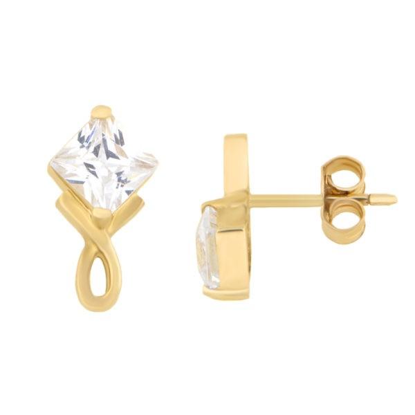 Kullast kõrvarõngad tsirkoonidega Kood: 142pa