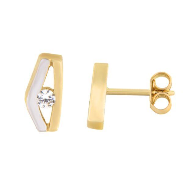 Kullast kõrvarõngad tsirkoonidega Kood: 157pa