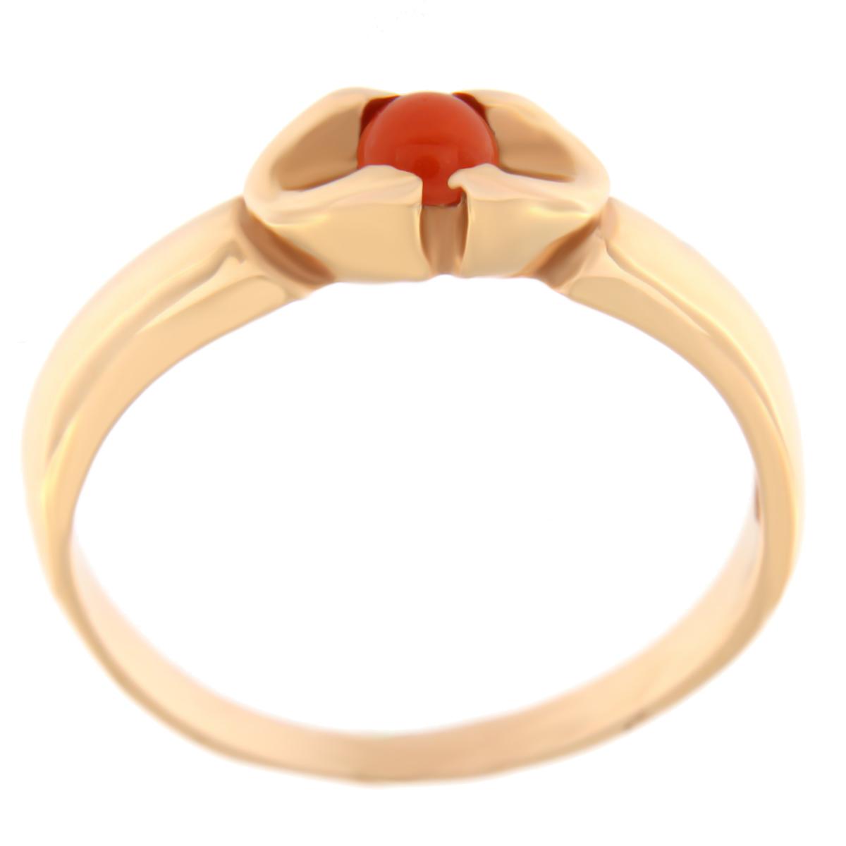 Kullast sõrmus koralliga Kood: 69pk