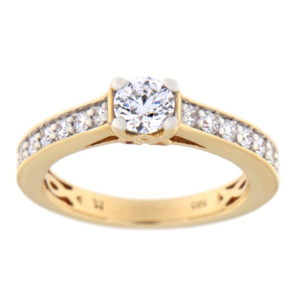 Kullast sõrmus teemantidega 0,67 ct. Kood: 65at