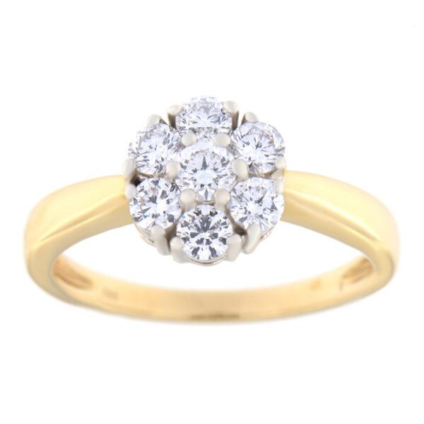 Kullast sõrmus teemantidega 1,00 ct. Kood: 66an