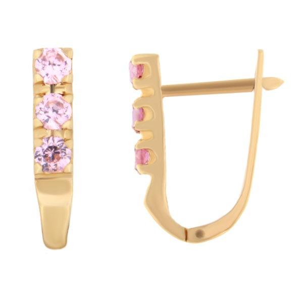 Kullast kõrvarõngad tsirkoonidega Kood: er0104-i-roosa