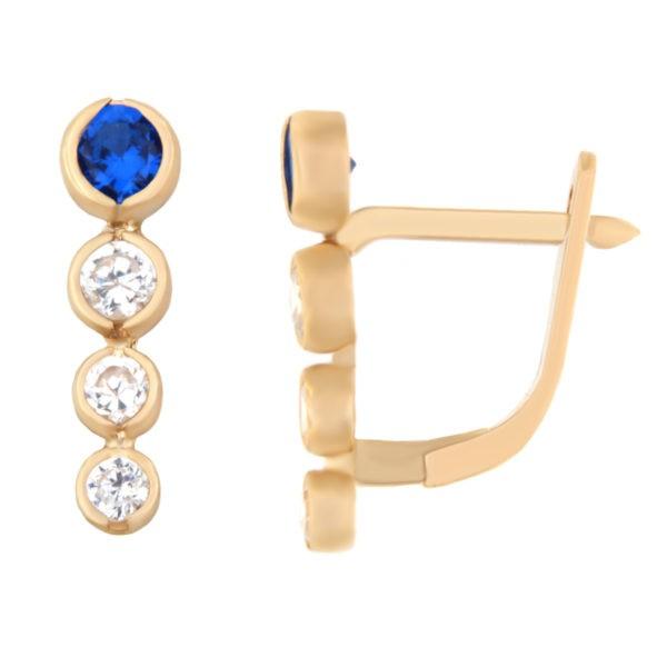 Kullast kõrvarõngad tsirkoonidega Kood: er0129-i-sinine