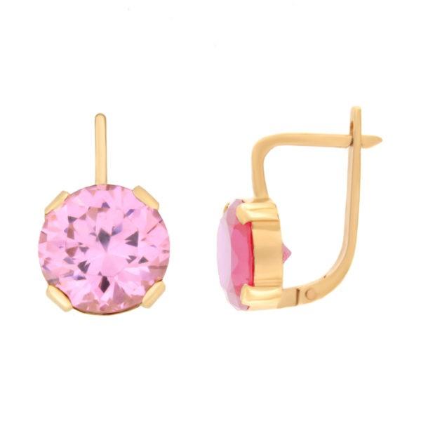 Kullast kõrvarõngad tsirkoonidega Kood: er0136-i-roosa