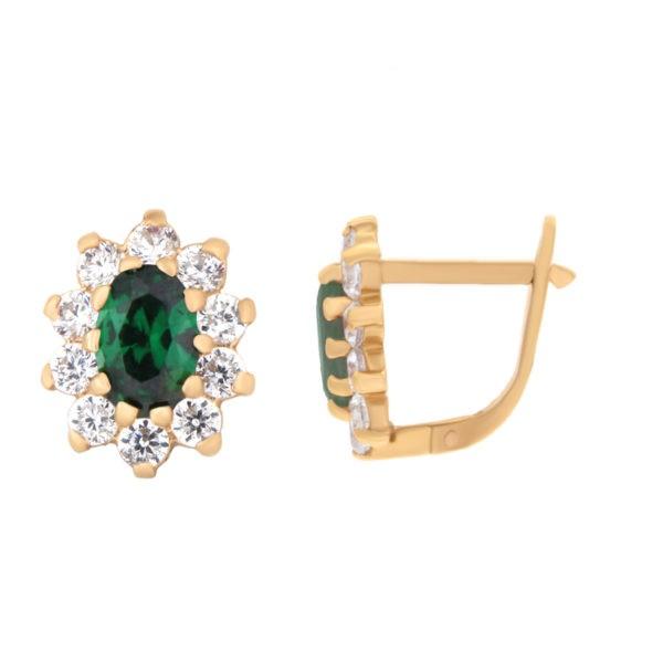Kullast kõrvarõngad tsirkoonidega Kood: er0145-i-roheline