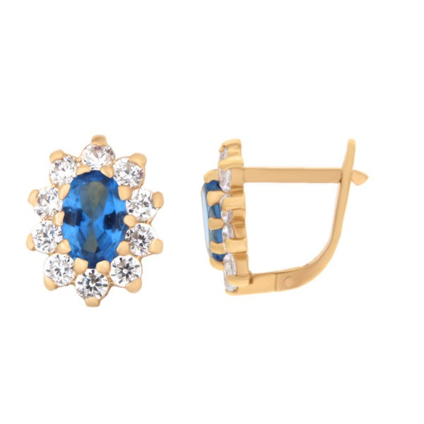 Kullast kõrvarõngad tsirkoonidega Kood: er0145-i-sinine