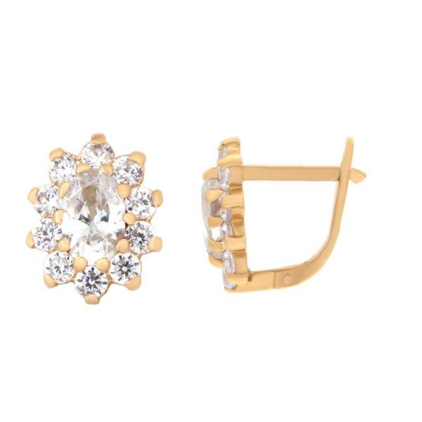 Kullast kõrvarõngad tsirkoonidega Kood: er0145-i-valge