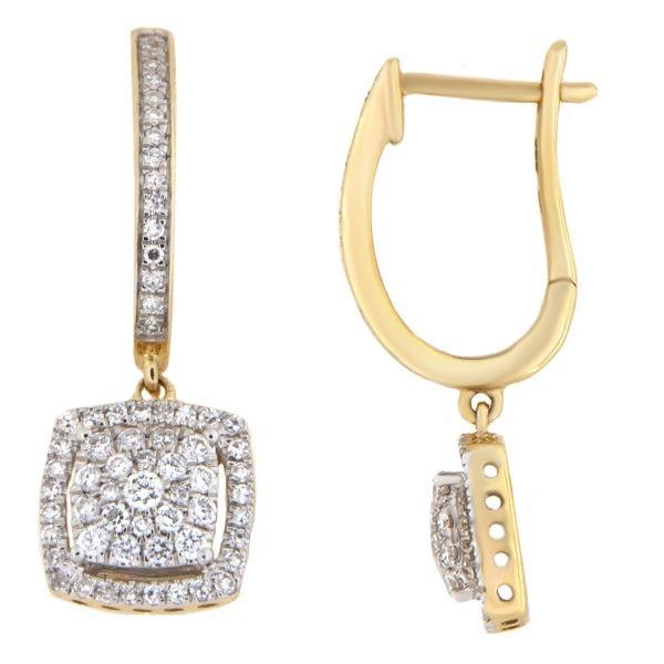 Kullast kõrvarõngad teemantidega 0,50 ct. Kood: 15he