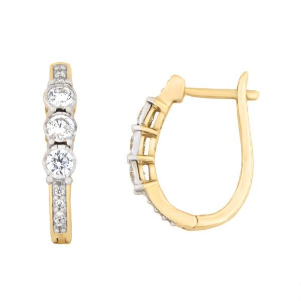 Kullast kõrvarõngad teemantidega 0,50 ct. Kood: 25he