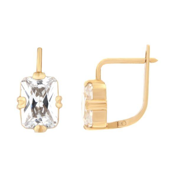 Kullast kõrvarõngad tsirkoonidega Kood: er0118-valge-väike
