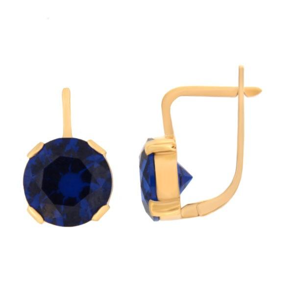 Kullast kõrvarõngad tsirkoonidega Kood: er0136-tumesinin