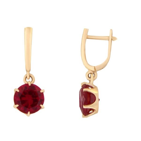 Kullast kõrvarõngad tsirkoonidega Kood: er0153-150-8-punane