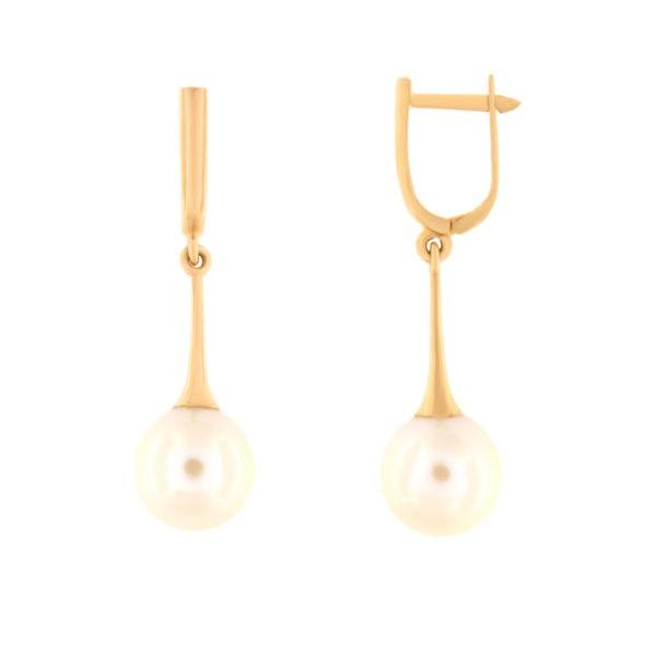 Kullast kõrvarõngad pärlitega Kood: er0153-312-10-m