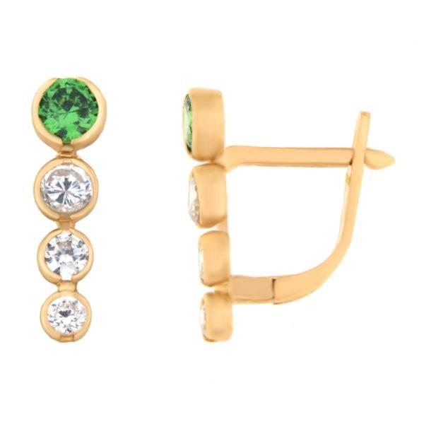 Kullast kõrvarõngad tsirkoonidega Kood: er0129-i-roheline