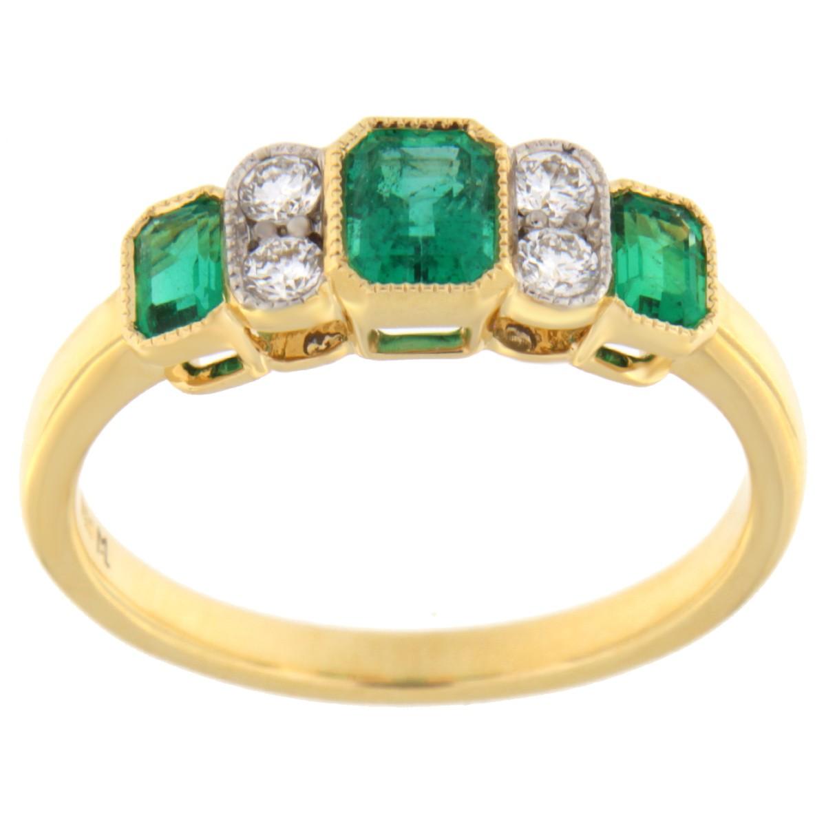 Kullast sõrmus teemantidega ja samaragdidega Kood: 10m