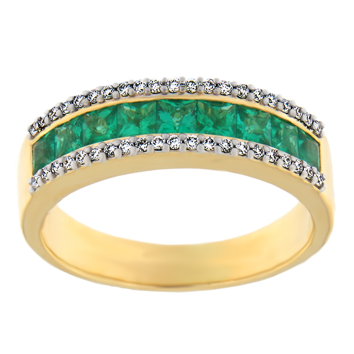 Kullast sõrmus teematide ja smaragdidega Kood: 12m