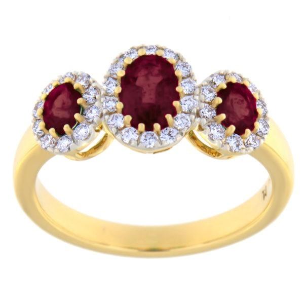 Kullast sõrmus teemantide ja rubiinidega Kood: 20m