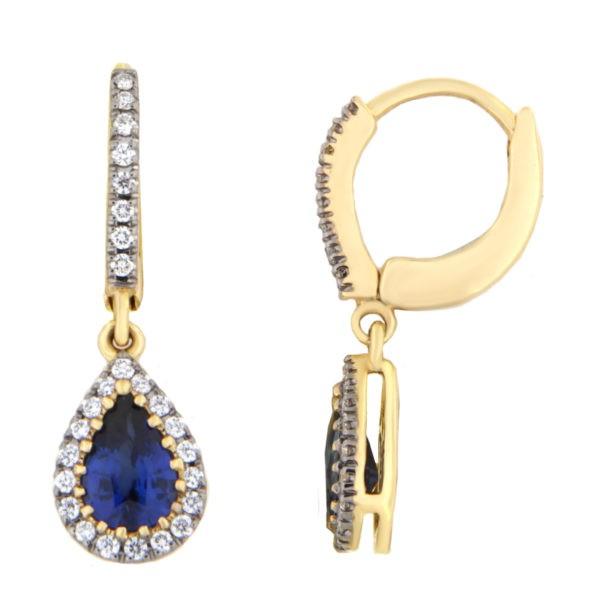Kullast kõrvarõngad teemantide ja safiiridega Kood: 26m