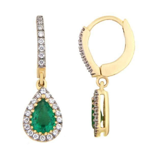 Kullast kõrvarõngad teemantide ja smaragdidega Kood: 27m