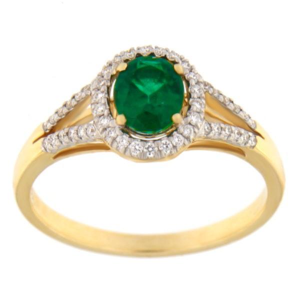 Kullast sõrmus teemantide ja smaragdiga Kood: 2m