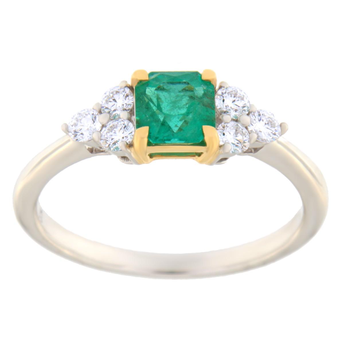 Kullast sõrmus teemantide ja smaragdiga Kood: 3m-2020