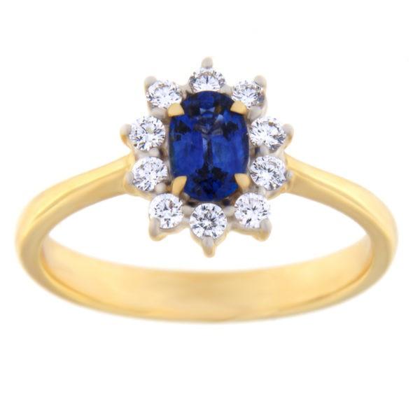 Kullast sõrmus teemantidega ja safiiriga Kood: 5m