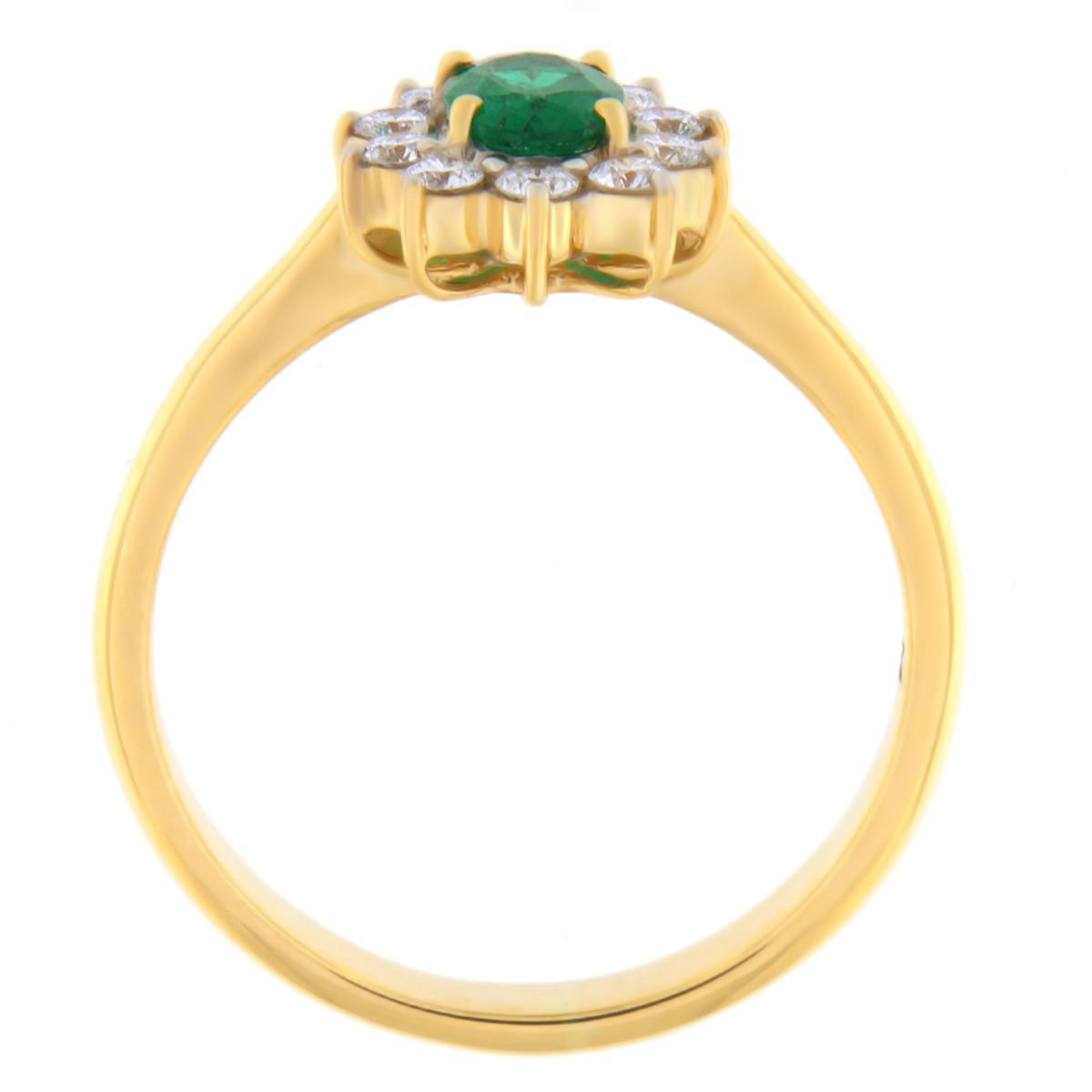 Kullast sõrmus teemantide ja smaragdiga Kood: 6m