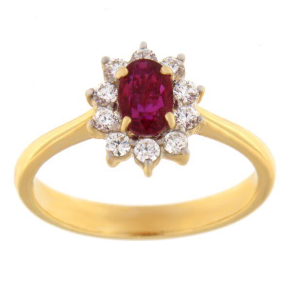 Kullast sõrmus teemantidega ja rubiiniga Kood: 8m