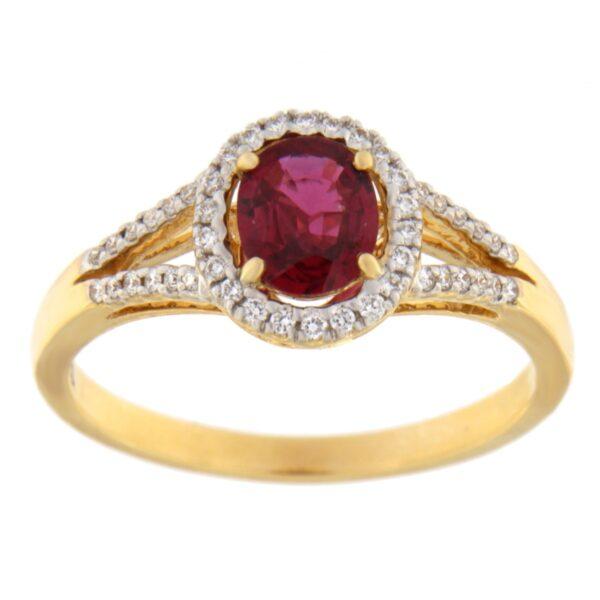 Kullast sõrmus teemantidega ja rubiiniga Kood: 9m