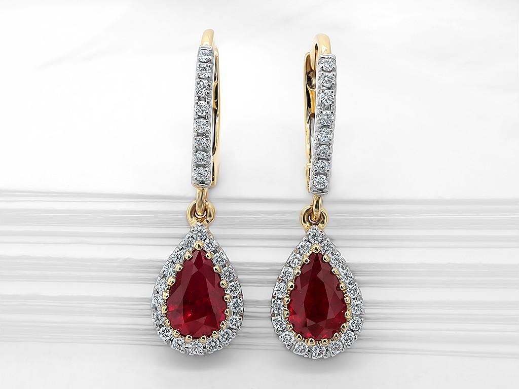 Kullast kõrvarõngad teemantide ja rubiiniga Kood: 25m