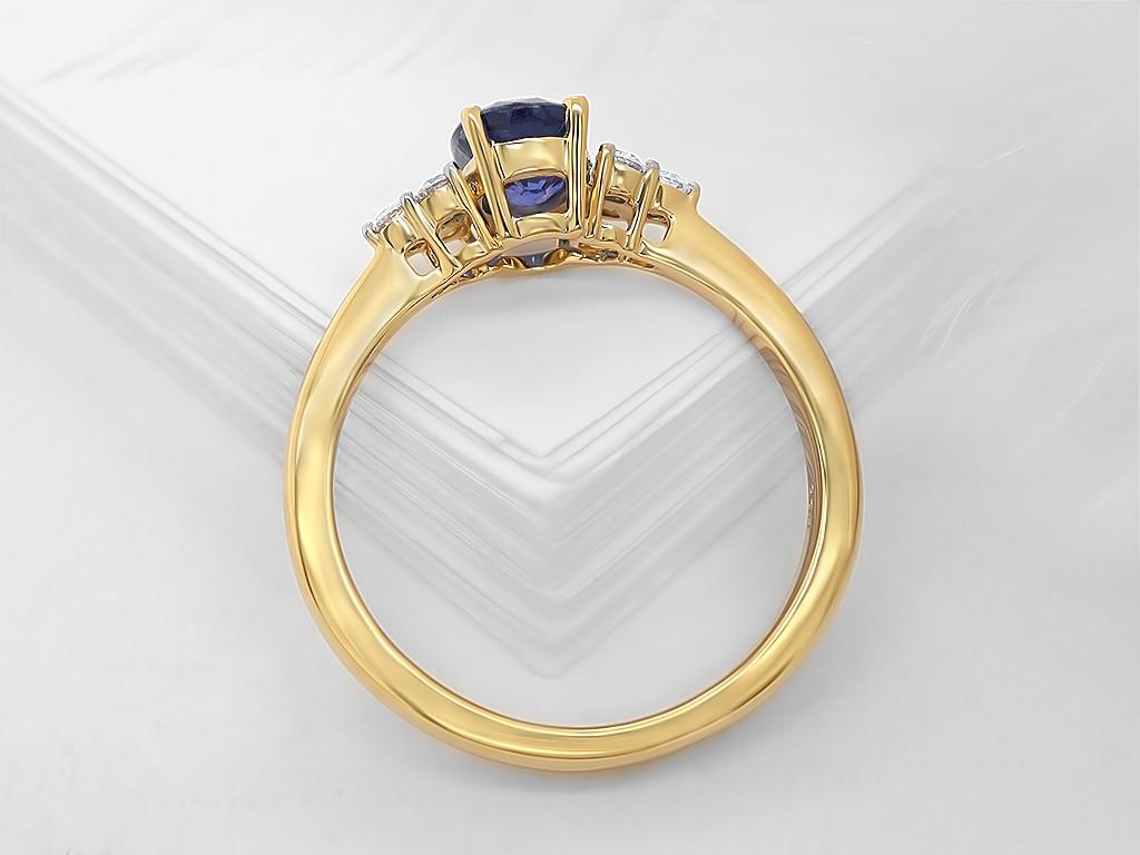 Kullast sõrmus teemantide ja safiiriga Kood: 4m