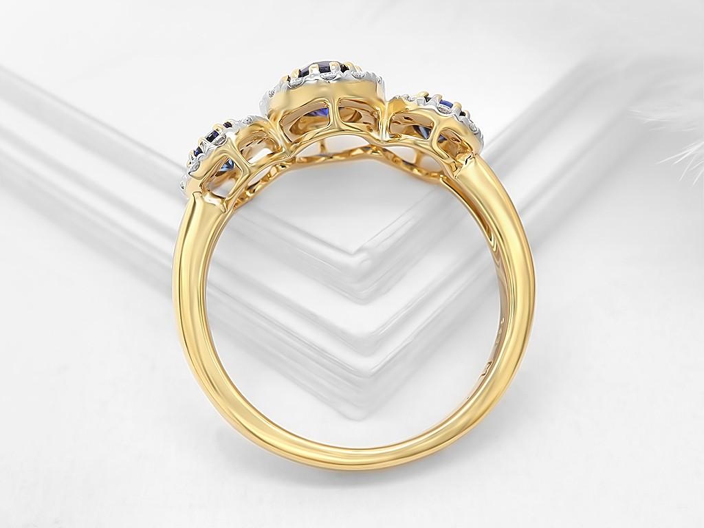 Kullast sõrmus teemantide ja safiiridega Kood: 19m