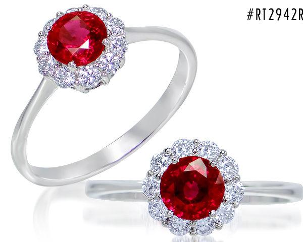 Kullast sõrmus teemantide ja rubiiniga Kood: 14m
