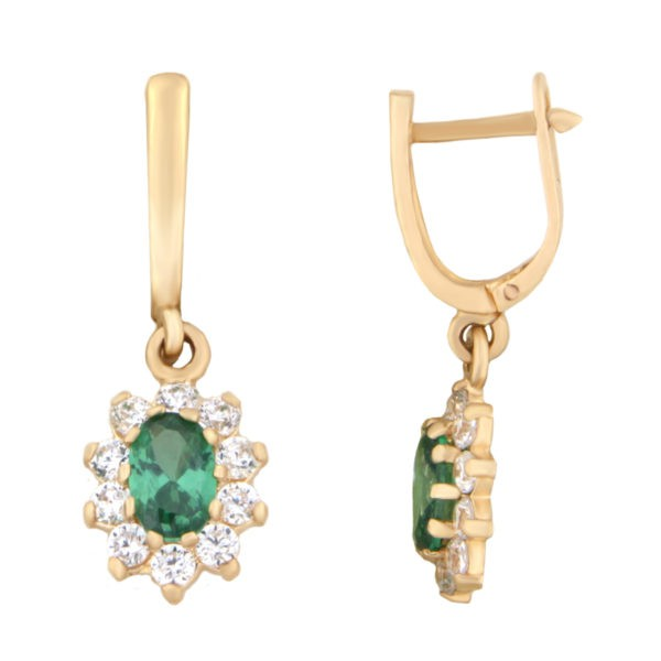 Kullast kõrvarõngad tsirkoonidega Kood: er0153-145-roheline