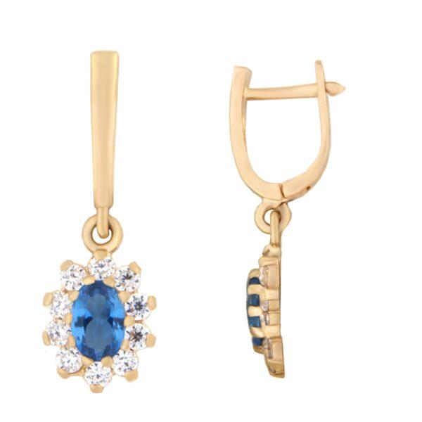 Kullast kõrvarõngad tsirkoonidega Kood: er0153-145-sinine