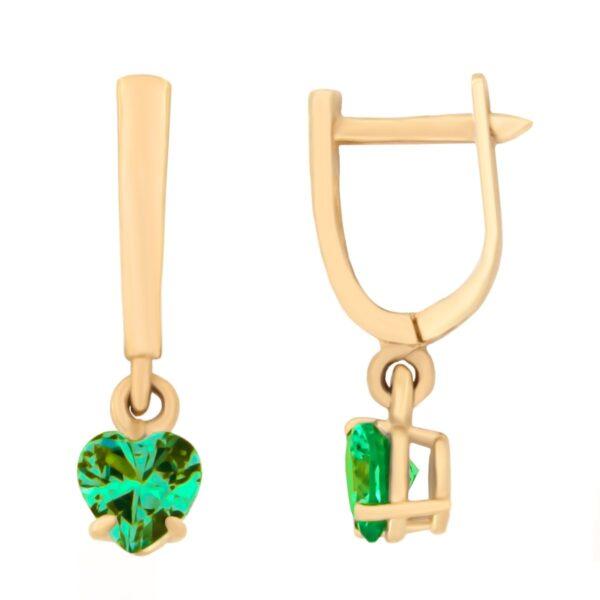 Kullast kõrvarõngad tsirkoonidega Kood: er0153-156-roheline