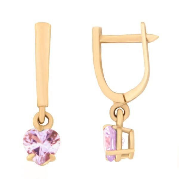 Kullast kõrvarõngad tsirkoonidega Kood: er0153-156-roosa