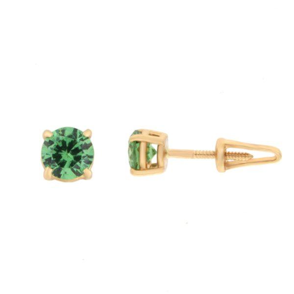 Kullast kõrvarõngad tsirkoonidega Kood: er0157-5-roheline