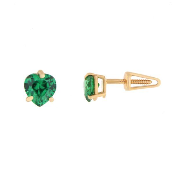 Kullast kõrvarõngad tsirkoonidega Kood: er0158-roheline