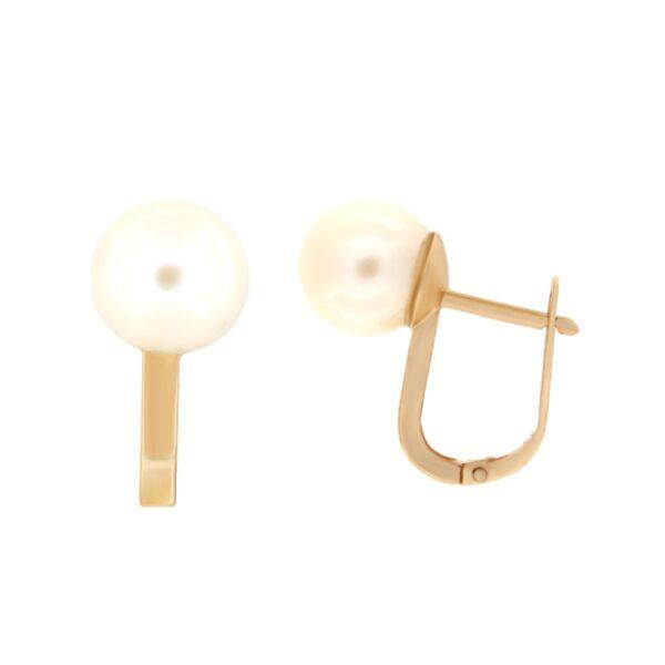 Kullast kõrvarõngad pärlitega Kood: er0315-8-pärl