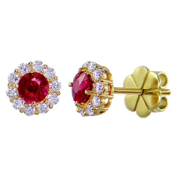 Kullast kõrvarõngad teemantide ja rubiinidega Kood: 39m