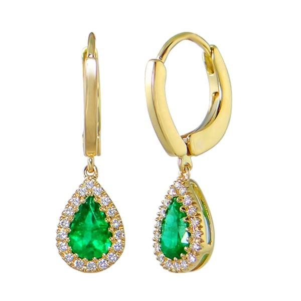 Kullast kõrvarõngad teemantide ja smaragdidega Kood: 24m