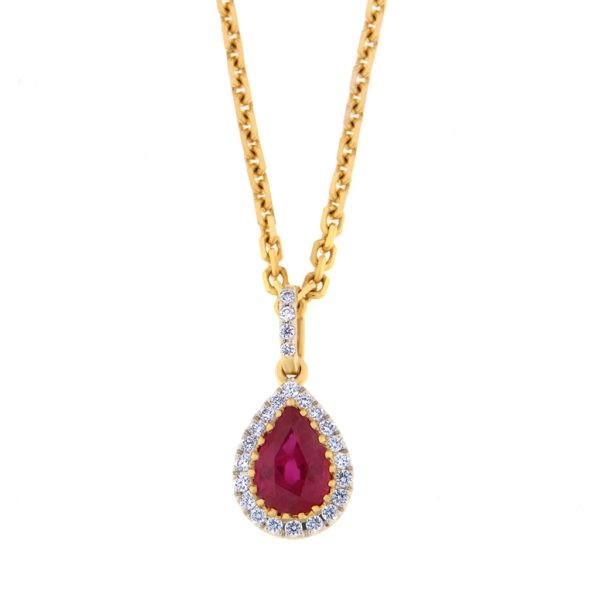 Kullast ripats teemantide ja rubiiniga Kood: 44m